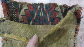 A beautiful antique fragment ikselik Tourkmen wool on wool natural color size:38 x 21 cm age : The last quarter 19 th price: POR