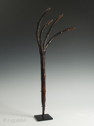 """Dung rake, Bhutan. 21"""" (53.4) high. Early to mid 20th century Instead of the usual three prongs, this rake is blessed with four."""