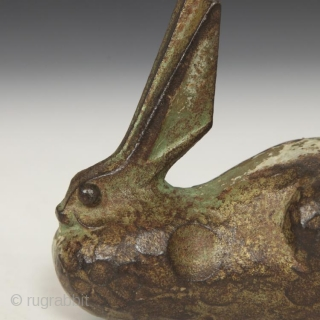 """Cast iron rabbit okimono, Japan. 2.25"""" wide by 4.5"""" deep by 3.75"""" high. Last year, a small group of cast iron animals was found in a burlap bag in a rural peddler's  ..."""