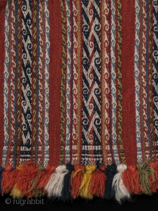 """Chuspa (coca bag), Department of Potosi, Bolivar Region, Bolivia. Wool, 20th century, 7"""" (17.7 cm) high by 7.5"""" (19 cm) wide. Plain weave coca bag, with pattern bands of double-faced weave using complementary warp sets and double  ..."""