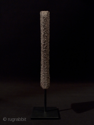 """Yari saya, (scabbard for spear), Japan. Wood, tataki nuri lacquer. 10"""" (25.5 cm) high. Edo Period. Custom base. Condition: spot of lacquer loss on back side and spots underside. These were held aloft by samurai on 3  ..."""