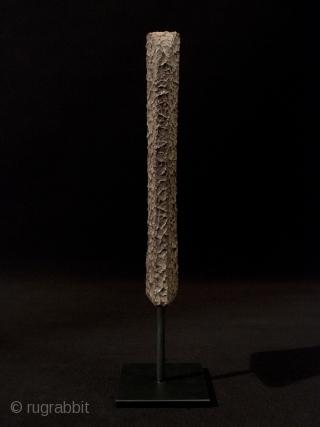 "Yari saya (spear scabbard), Japan. Wood, tataki nuri lacquer, custom base. 10"" (25.5 cm) high. Edo Period. Condition: lacquer intact, small losses at underside corners."