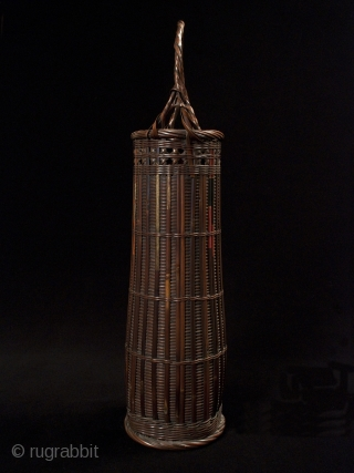 """Ikebana basket, Japan, Bamboo, split arrows, 22"""" (56 cm) high, Taisho Period, Chikunsai III, b.1940, was known for using split arrows in his baskets, as can be seen in the painted bamboo. He is the grandson of  ..."""