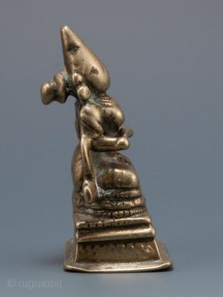 "Annapurna, India. Lost wax cast bronze/brass. 2.25"" (5.7 cm) high. 17-18th century."