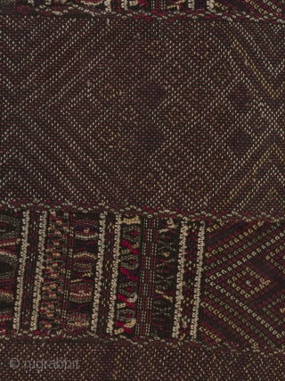 """Breast cover, Chin ethnic group, Burma. Cotton, silk, 13.5"""" (34.2 cm) high by 28"""" (71 cm) wide. Early to mid-20th century. This is a wonderful diamond patterned breast cloth made with discontinuous  ..."""