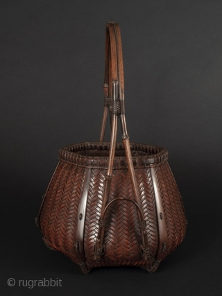 Japanese Antique Bamboo Basket Signed