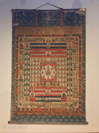 Large Japanese Womb of the World Mandala Scroll Painting