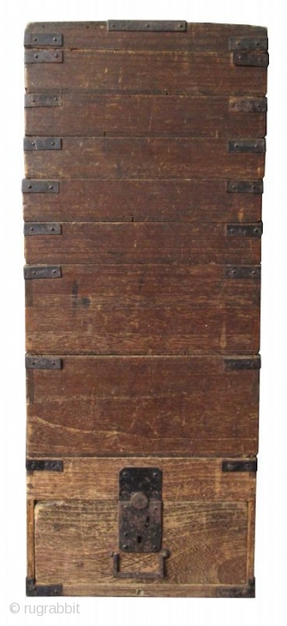 Unusual Japanese Edo Kiri Stacking Box Unusual Japanese Kiri wood stacking box, comprised of 9 shallow compartments for the storage of calligraphy implements. The edges of each compartment are reinforced with hand-forged iron  ...