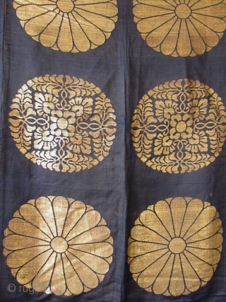 Japanese Antique Large Buddhist Textile Cover  Beautiful antique Japanese large covering originally used in a Buddhist temple. Three deep blue silk panels sewn together and woven with gold in design of 18 chrysanthemums  ...