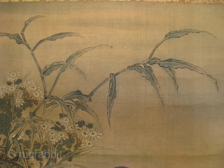 Chinese Scroll Painting of Geese by Zhu Gejian   Chinese antique scroll painting of pair of geese, one sitting on branch, the other fishing in the river with bottom up, wonderful detail, painted in  ...