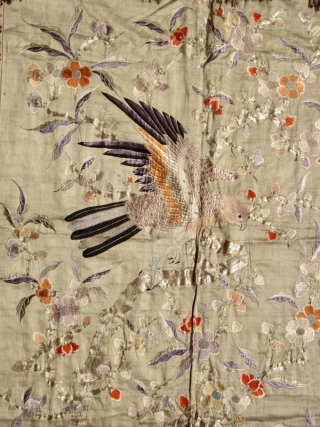 Large Chinese Silk Embroidery with Deer and Birds