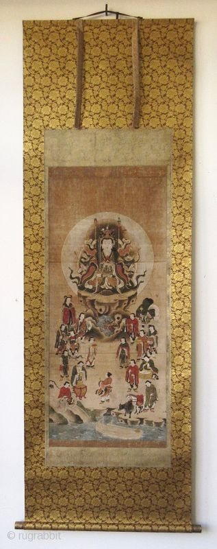 Japanese Edo Buddhist Scroll Painting of Eight Armed Kannon