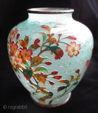 Stunning Japanese Antique Plique-a-jour Cloisonne Vase with Bird  Antique Japanese rare plique-a-jour cloisonne vase. This is a very early plique and in perferct condition. Intricate enamel design of a blossoming tree and a  ...