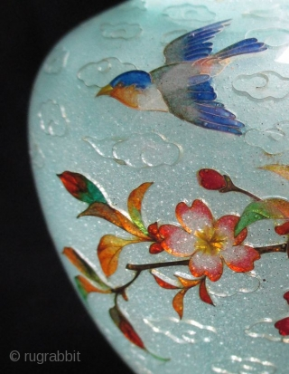 Stunning Japanese Antique Plique-a-jour Cloisonne Vase with Bird