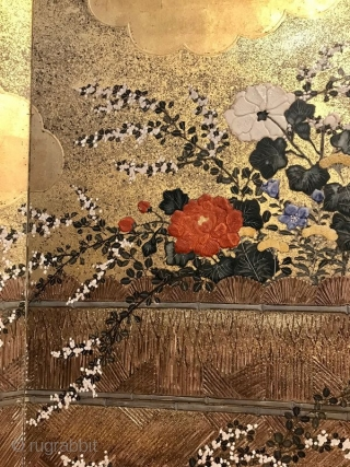 Incredible 18th Century Japanese Screen - View From the Garden