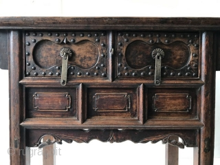 Antique Chinese Jumu Coffer Cabinet  Chinese Jumu hardwood coffer cabinet. A coffer is a strong chest or box used for keeping money or valuables safe. The front of the cabinet holds two drawers  ...