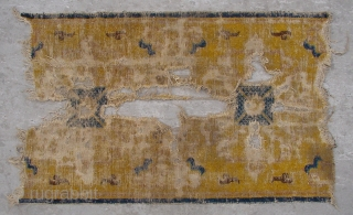 """No.X0009 * Chinese Antique Ningxia Temple Rug-Runner(Fragments). Age:Early-19th Century. Size:70x120cm(2'3"""" x 3'11""""). Origin:Ningxia. Shape:Rectangle. Background Color:Yellows"""