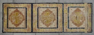 """No.CL042 * Chinese Antique Ningxia Rug-Runner. Age:18th Century. Size:70x197cm (2'4""""x6'6"""").  Origin:Ningxia.  Shape:Rectangle. Background Color:The Red Wood Color. The design is double thunderbolts(dorje), a buddhist symbol, with a yin-yang symbol in the  ..."""