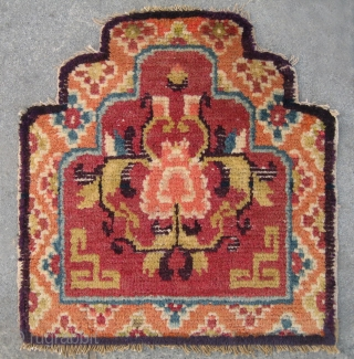 "No.A0016 * Chinese Antique Throne Rugs-Mat.Size: 53x57cm (21""x22""). Age: Late 19th Century. Origin: Baotou-Suiyuan. Shape: Square."