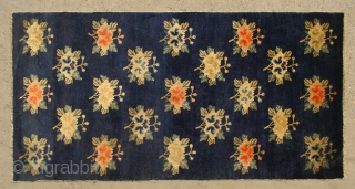 """No.R047 * Chinese Antique """"Wealthy and Auspicious Peony"""" Rug ,Origin: Baotou.Age: 19th Century. Size: 67x132cm(26""""x52""""). All vegetable dye."""