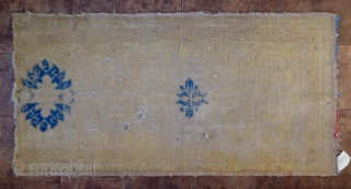 """No.CL048 * Chinese Ningxia Rugs-Runner(Fragments),Age: Late-17th/Early-18th Century. Size:74x145cm(2'5""""x4'9"""").Origin: Ningxia Shape: Rectangle.Background Color:Yellows."""