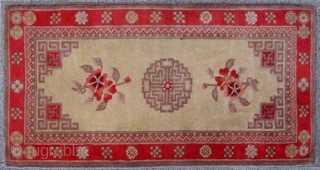 """No.DX051 * Chinese Antique Rug ,19/20th Century.Size:60x117cm(24""""x46""""),Origin: Baotou-Suiyuan. Shape: Rectangle ,Material: 100% Wool Woven: Hand-knotted Background Color: Off-whites,lvory  ."""