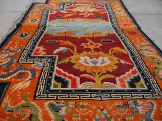"No.R098 * Chinese Antique Tibet Saddle Rug,Size: 64x114cm(25""x49""). Origin: Tibet.Background Color:Red."