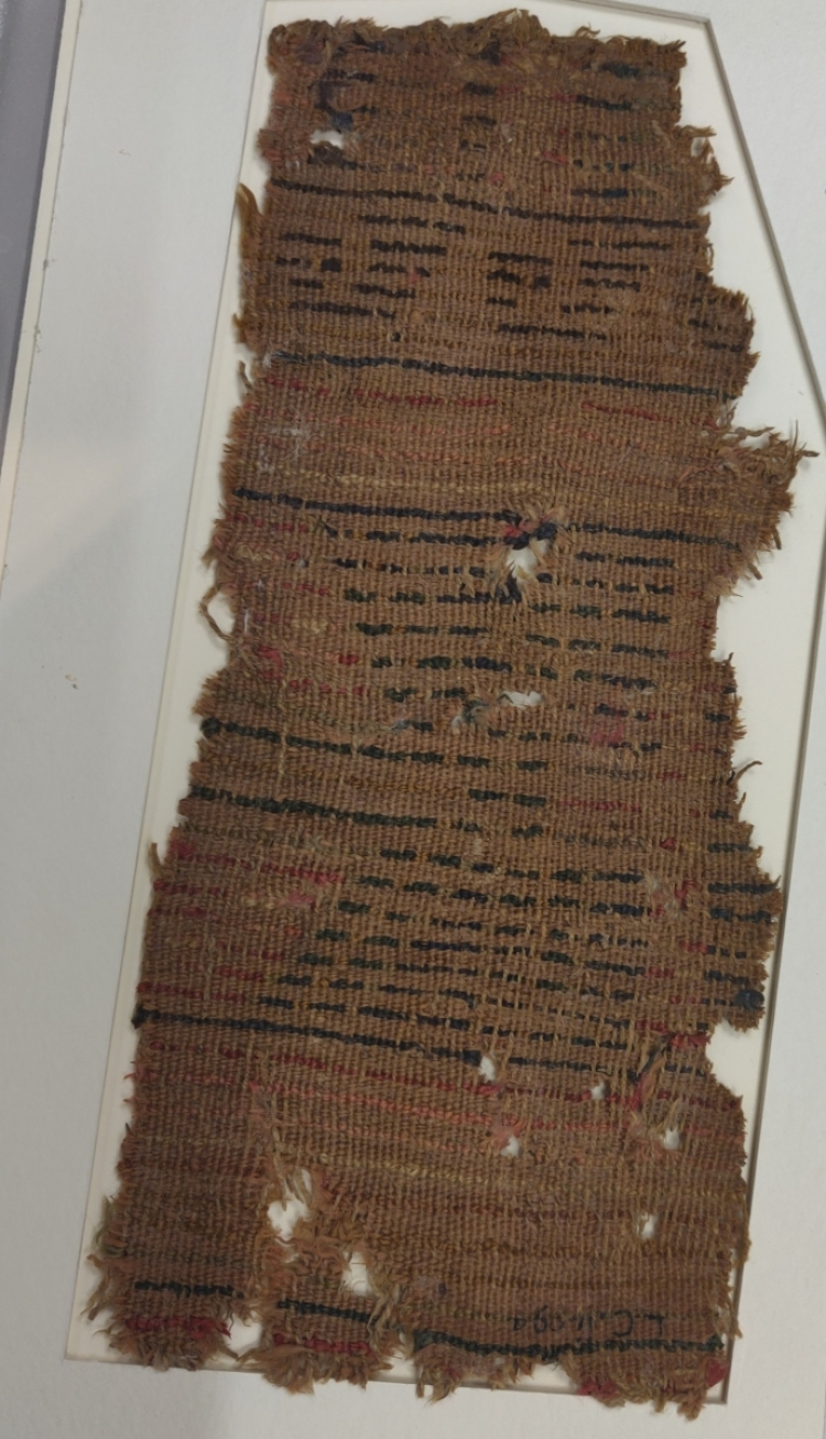 Textiles at Blythe House, London, Aurel Stein carpet frgment from Loulan, circa 1st century BCE